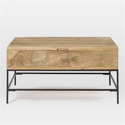 storage bench table industrial storage coffee table west elm