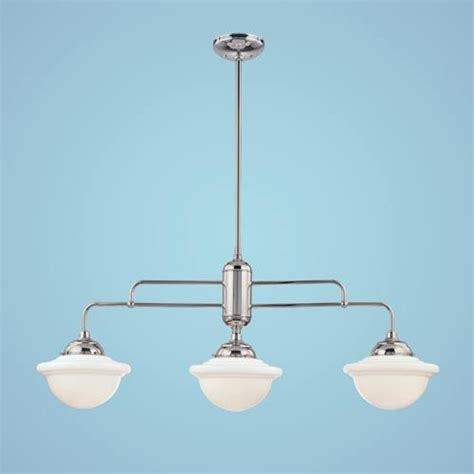 Industrial Island Lighting Neo Industrial Chrome Three Light Island Pendant With Opal White Scho