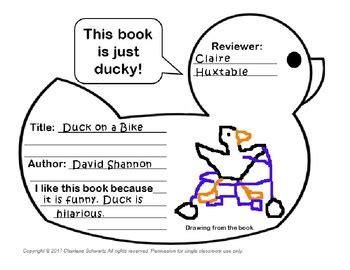 Duckling Book Report duck book report by charlene schwartz teachers pay teachers