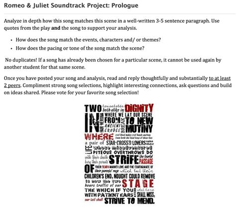 romeo and juliet theme park project shakespeare soundtrack project
