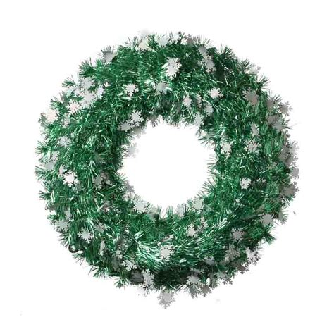 green tinsel snowflake wreath wreaths floral supplies