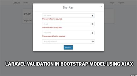 tutorial bootstrap validation laravel validation in bootstrap model using ajax free