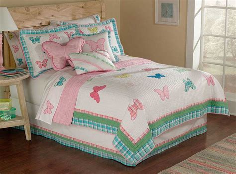 girls quilt bedding butterfly plaid quilt set in twin and full sizes for girls