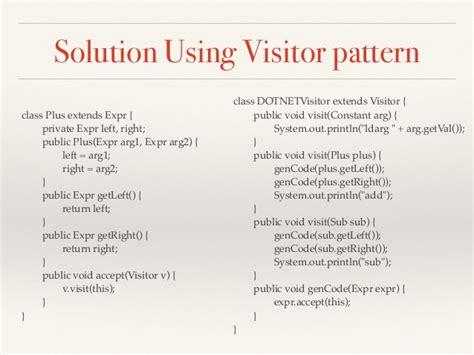 visitor behavior pattern design patterns compiler case study hands on exles