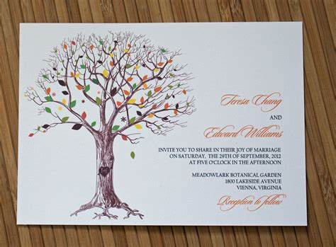 Autumn wedding invitations rustic tree wedding invitation