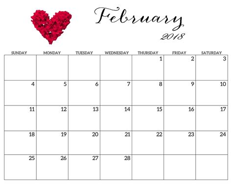 printable calendar pretty free february 2018 wall calendar calendar 2018
