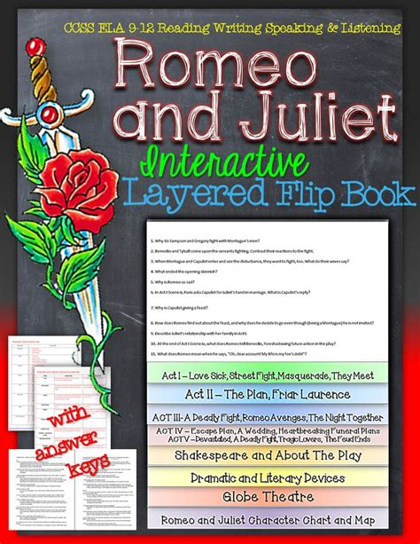 romeo and juliet picture book romeo and juliet reading literature guide flip book