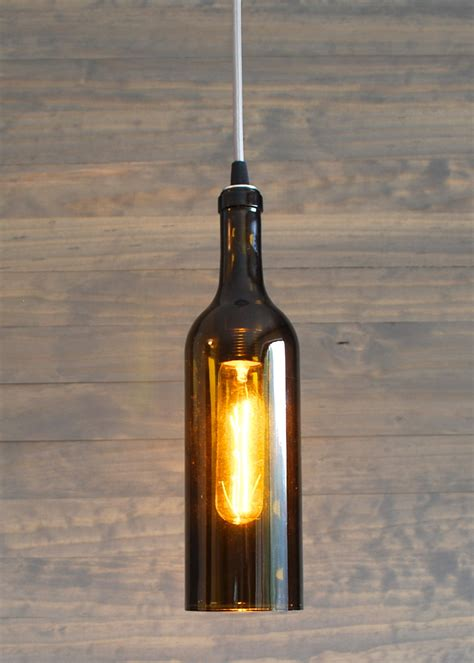 Wine Bottle Pendant Light Upcycled Wine Bottle Pendant Light