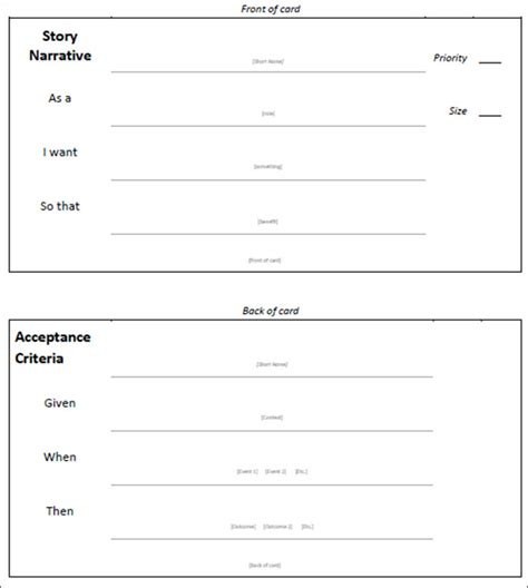 agile story card template user story template excel calendar template word