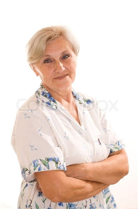 attractive 47 year old women beautiful older woman on a white background stock photo