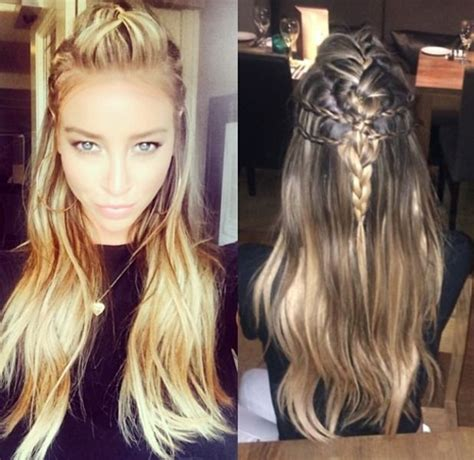 hairstyles to do with plaited extensions towie s lauren pope looks fabulous with half up braided