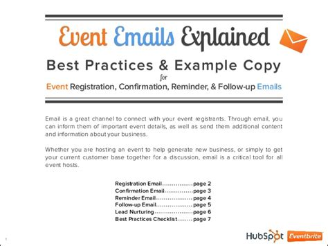 4 Event Emails Explained Post Follow Up Email Template