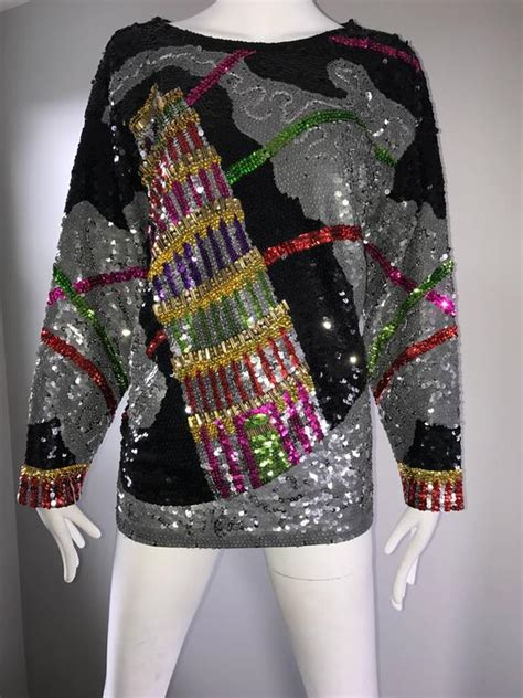 pisa blouse amazing vintage leaning tower of pisa fully sequined