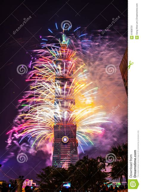 taiwan new year countdown taipei 101 new year fireworks editorial photo image