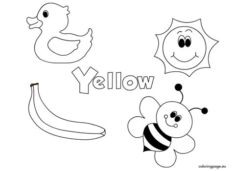 preschool yellow coloring pages yellow color amarillo pinterest english activities