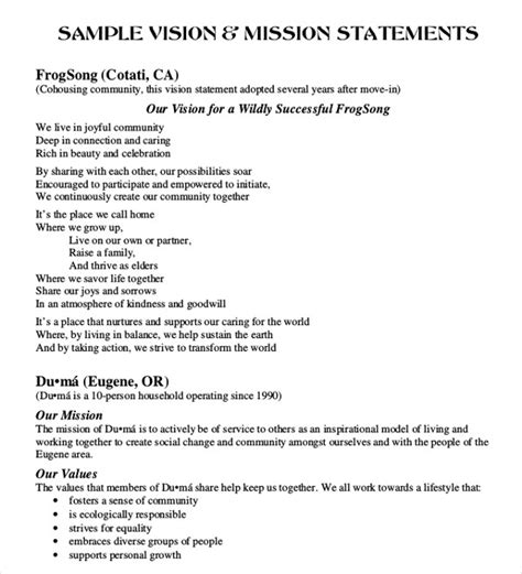 exles of mission and vision statements template