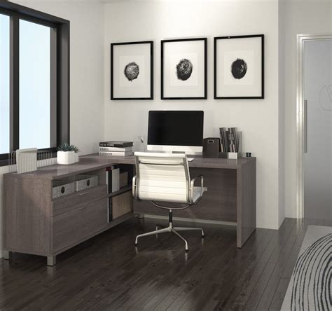 Modern Premium L Shaped Desk In Bark Gray Finish Grey L Shaped Desk
