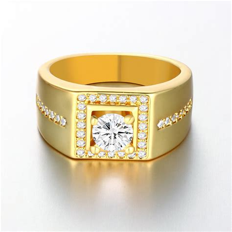 real gold plated men ring  aaa cz diamond