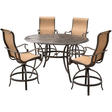 Bar Height Outdoor Dining Table Agio Somerset 5 Aluminum Outdoor Bar Height Dining Set With Swivels And Cast Top