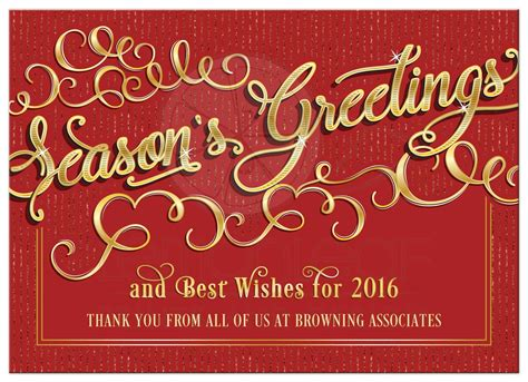 business holiday card elegant season s greetings red gold