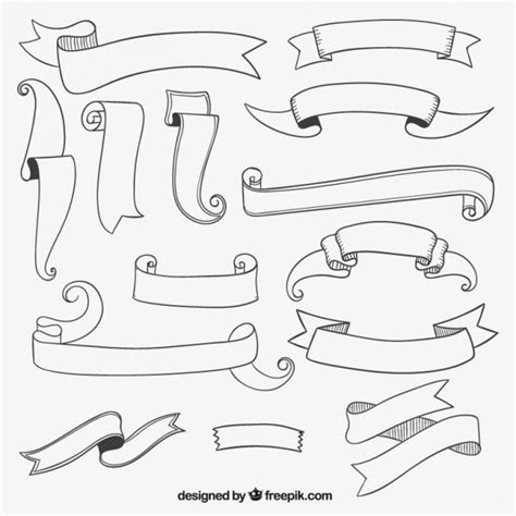 free doodle banner vector sketchy ribbon banners collection vector free