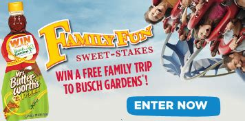 Busch Gardens Sweepstakes - mrs butterworth s 174 family fun sweet stakes sweepstakes win a trip to busch