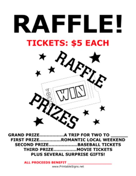raffle flyer template free printable raffle fundraiser sign
