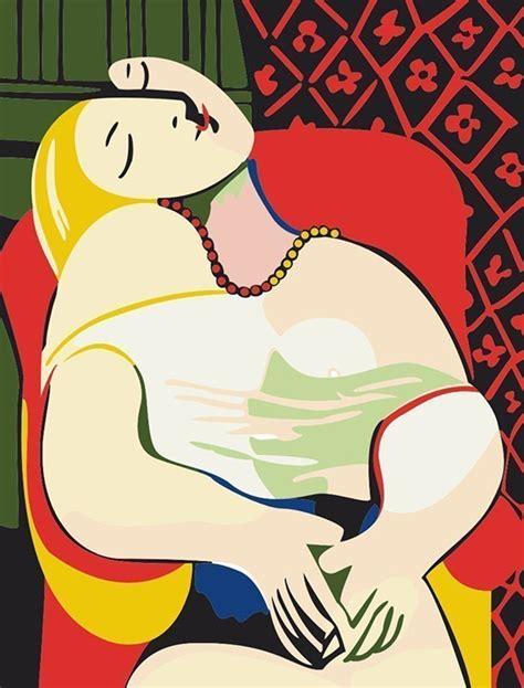 picasso paintings high resolution 数字油画包邮特价客厅风景情侣抽象diy数码油画 毕加索的梦30 40
