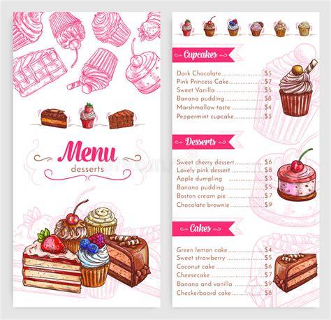 design dessert menu vector pastry menu with dessert cakes and pies stock