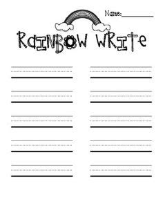 rainbow writing spelling words template 5 best images of rainbow writing paper printable rainbow