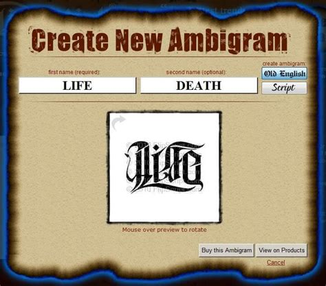 personal tattoo design generator ambigram generator ambigram is one of the artform