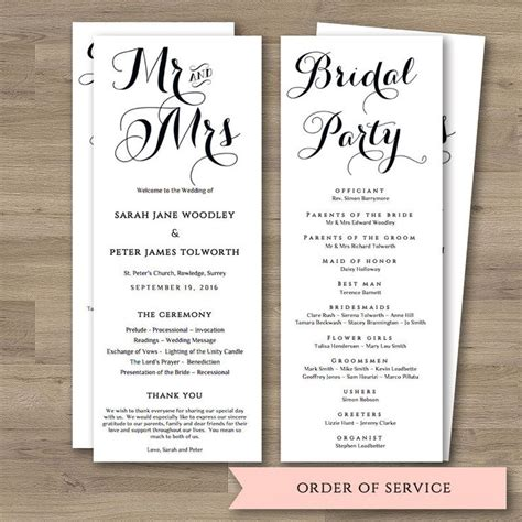 free order of service wedding template 17 best ideas about order of service template on