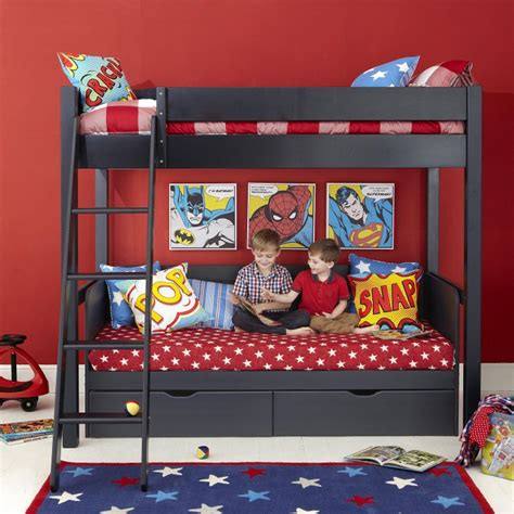 super hero bedroom lively colorful boys room space saving bunk bed designs