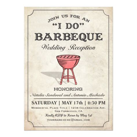 barbecue wedding reception invitations i do bbq wedding reception invitations zazzle