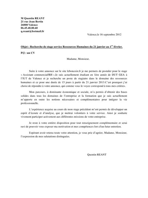 Exemple De Lettre De Motivation Dut Informatique exemple de lettre de motivation pour un dut