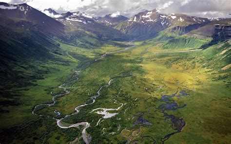 landscape nature valley river aerial view mountain