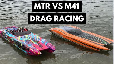 traxxas m41 boat rc boat drag racing traxxas m41 vs promarinerc mtr youtube