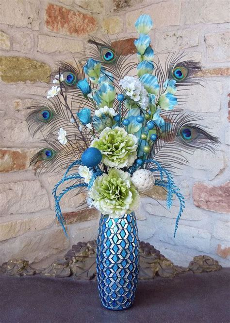 Tall Sparkly Blue and Green Floral Peacock Feathers
