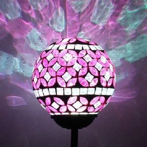 color changing solar yard lights solar power pink mosaic glass garden light color