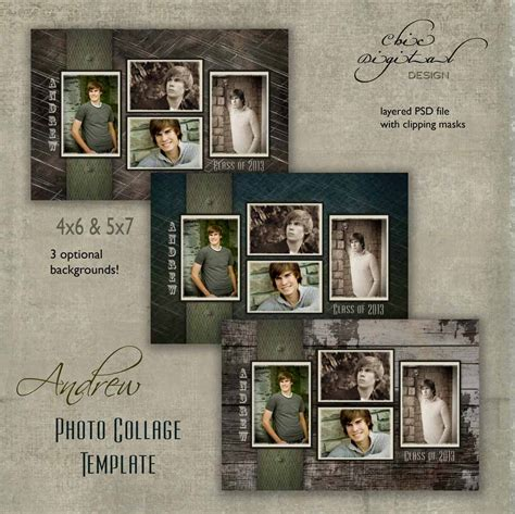 senior collage templates senior photo collage graduation template by