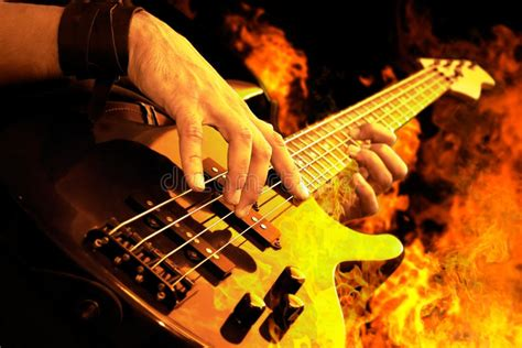 guitar playing  fire stock image image  grunge fire