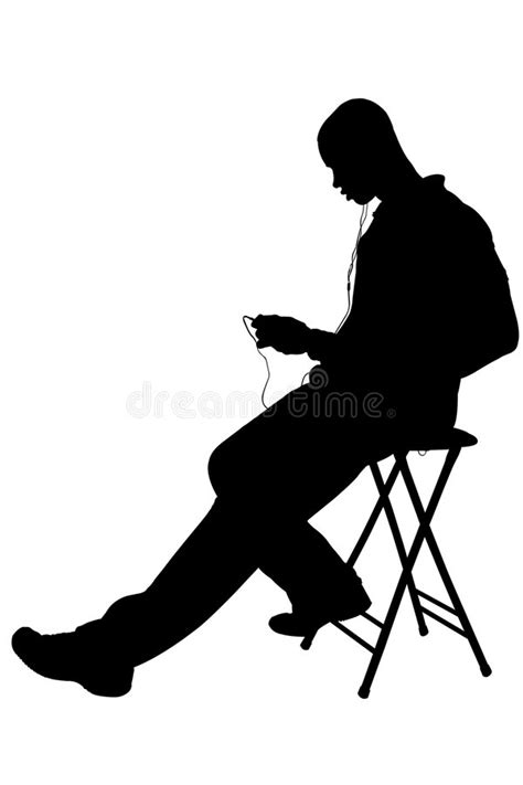 Silhouette With Clipping Path Of Man Listening To