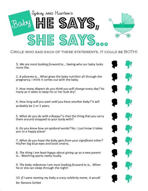 free printables baby shower games ideas he says she says unique printable baby shower by