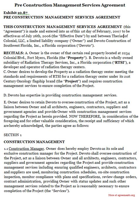 construction management agreement template pre construction management services agreement sle pre