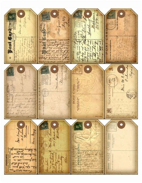 printable paper tags 24 postcard hang gift tags for scrapbook pages
