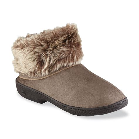 sears slippers for isotoner s woodlands taupe bootie slipper sears