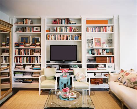 bookshelves around tv built in bookshelves eclectic living room lonny magazine