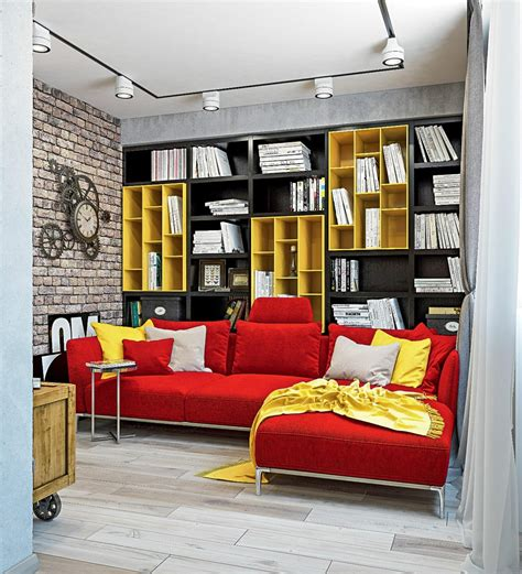 wall to wall sofa designs dynamic one room apartment interior for young people