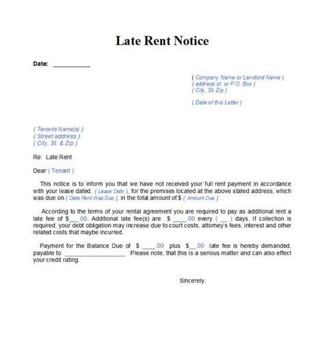 34 Printable Late Rent Notice Templates ᐅ Template Lab Late Fee Template