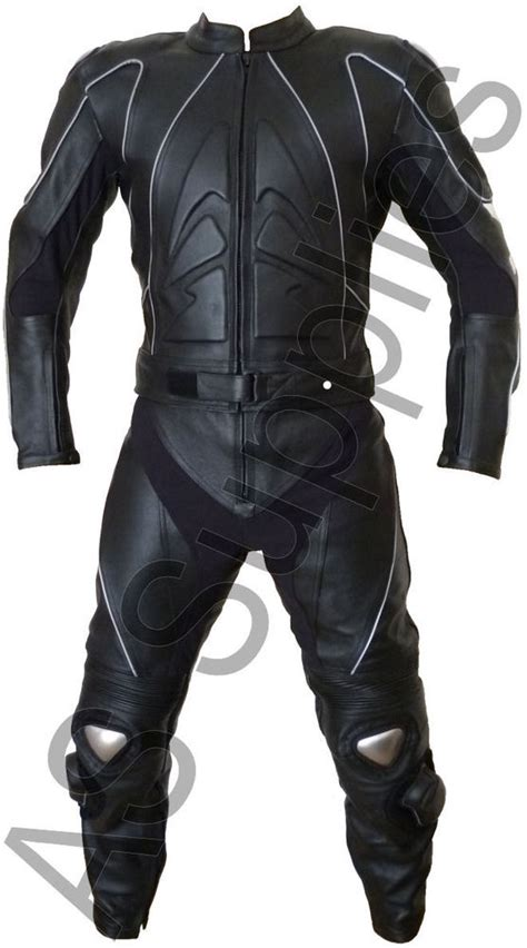 motorcycle suit quot stig quot nexus black leather motorcycle suit all sizes ebay